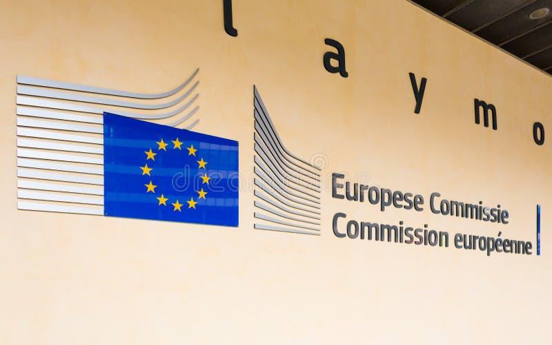BRUKSELA BELGIA, AUG, - 9, 2014: Berlaymont budynku wejście Berlaymont domów kwatery główne Europejska prowizja obraz stock