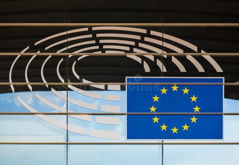 Bruksela Belgia, Maj, - 03, 2017: Symbol na parlamencie europejskim zdjęcie stock