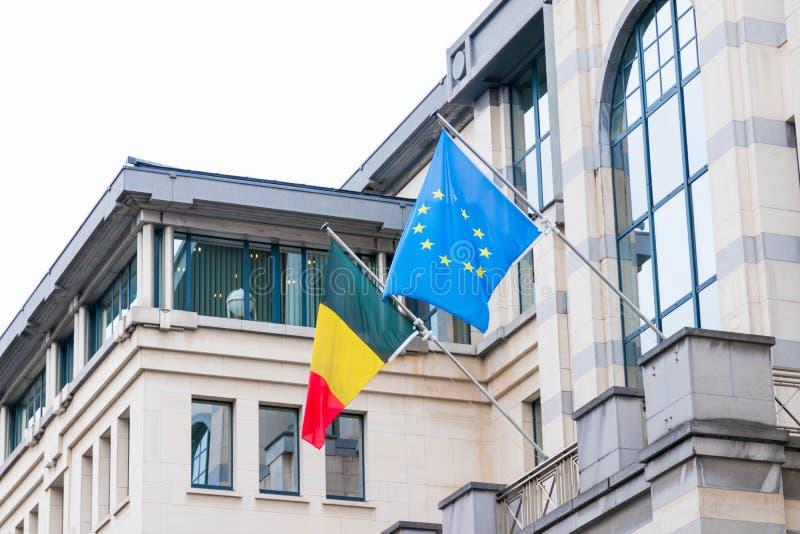 Bruksela/Belgium-01 02 19: Europa belga i europejczyka prowizji Bruksela Chorągwiana UE fotografia royalty free