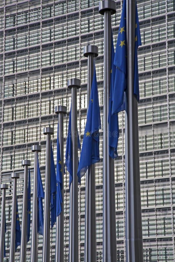 Bruksela - Europejska prowizja i UE flaga zdjęcie royalty free