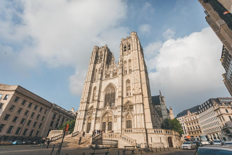 Brukselska katedra lub katedra w Bruksela saint michel et Gudula, Belgia zdjęcie royalty free