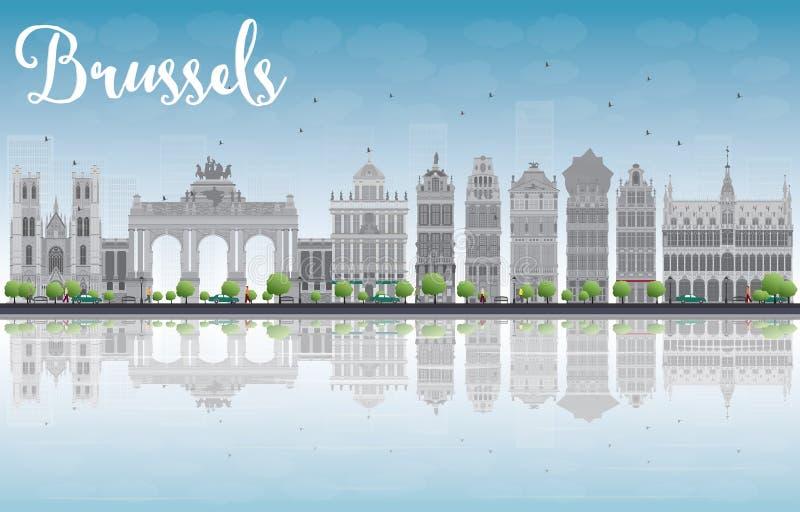 Brukselska linia horyzontu z Ozdobnymi budynkami Uroczysty miejsce i reflec ilustracji