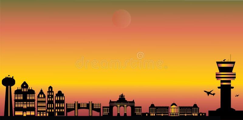 Brukselska miasto linia horyzontu royalty ilustracja