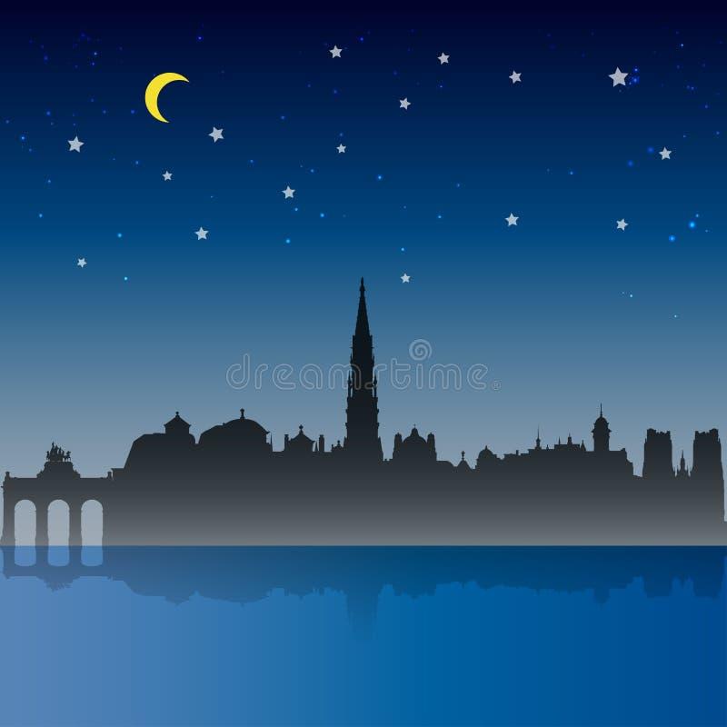 Brukselska miasto nocy scena ilustracja wektor