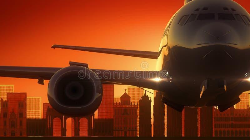 Brukselski Belgia samolot Zdejmował linii horyzontu Złotego tło ilustracja wektor