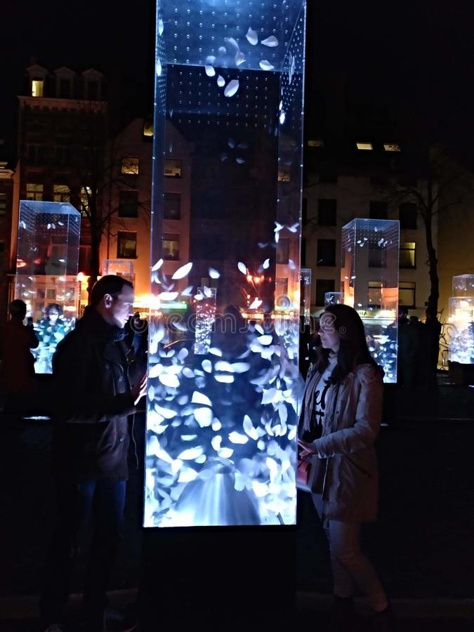 Brukselski Belgia zaświeca kochanek noc zdjęcia stock