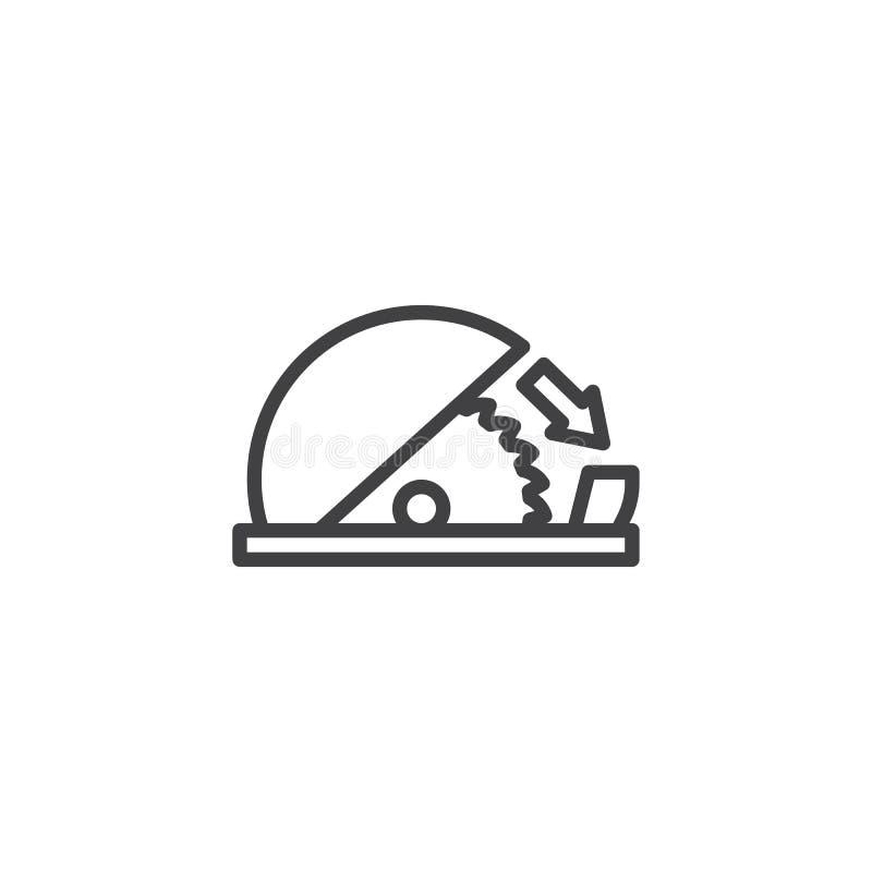 Brukstabellen såg den justerbara vaktlinjen symbol vektor illustrationer