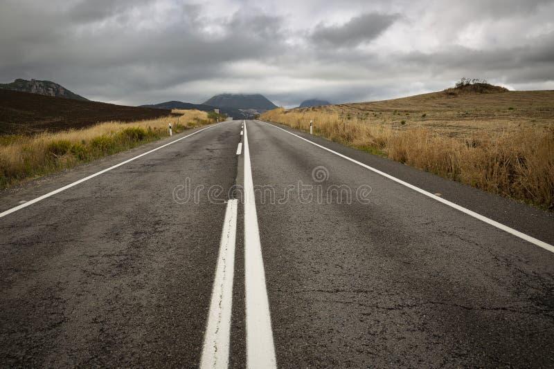 Brukująca droga w wsi w jesieni obrazy stock