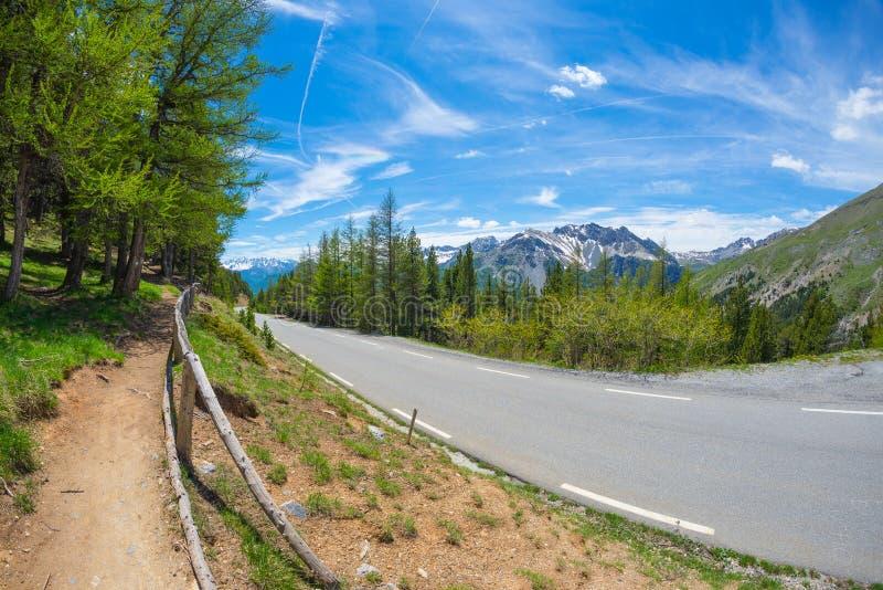 Brukujący dwa pasów ruchu las w i gór drogowy skrzyżowanie scenicznym wysokogórskim krajobrazie i markotnym niebie, fisheye widok zdjęcia royalty free