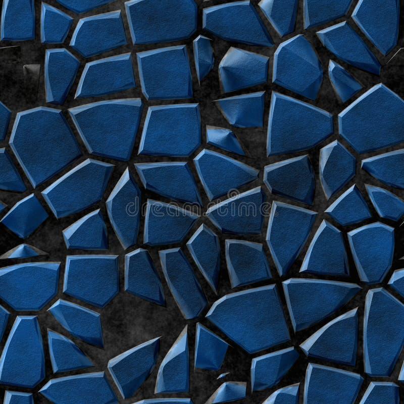 Brukuje kamień mozaiki wzoru nieregularnego bezszwowego tło - bruków błękitni naturalni barwioni kawałki na czerń betonu ziemi royalty ilustracja