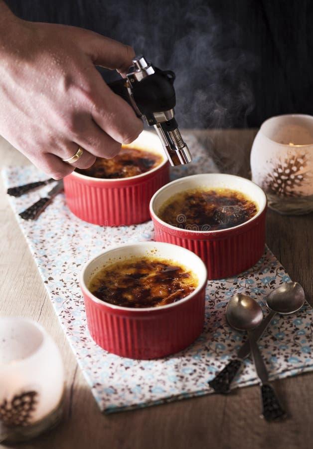 brulee caramelised ваниль cream сахара десерта creme французского верхняя традиционная стоковая фотография