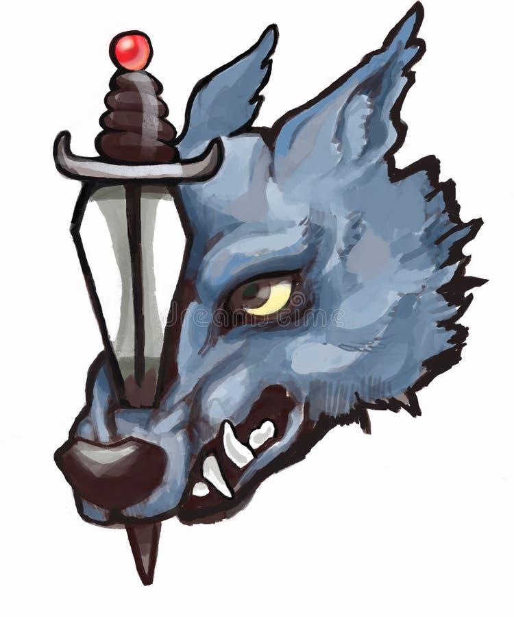 Brullende wolfsmascotte stock foto's