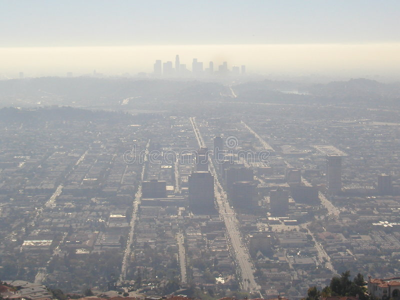Brume au-dessus de ville de Los Angeles photo stock