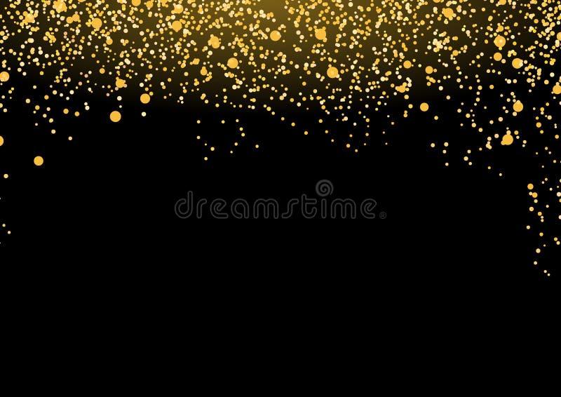 Brume d'or luxueuse lumineuse b magique abstrait en baisse de particules illustration libre de droits