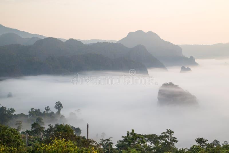 Brume de matin avec la montagne photos stock
