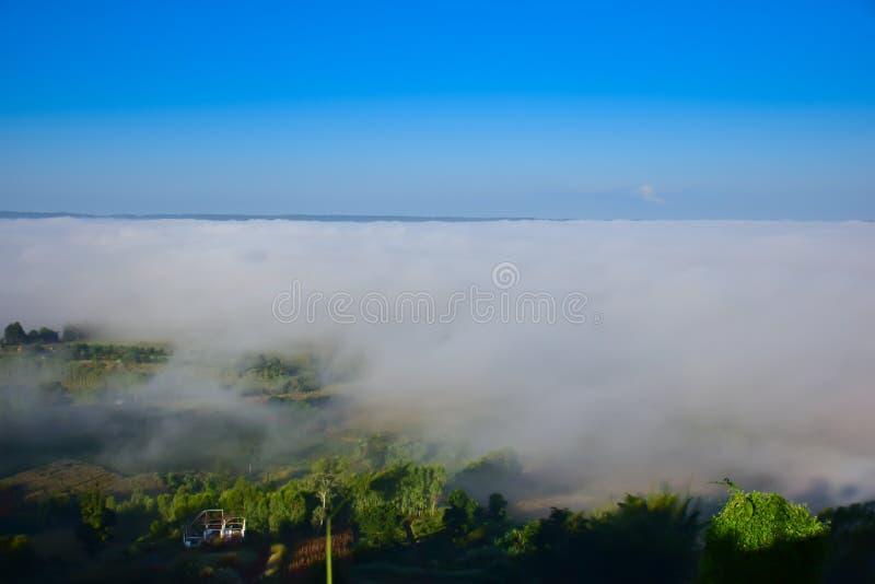 Brume de matin sur la montagne, brumeuse pendant l'hiver photo libre de droits