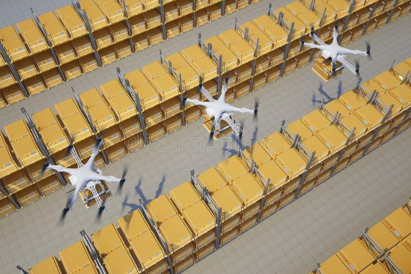 Brummen mit Kästen fliegen über das Lager stock abbildung