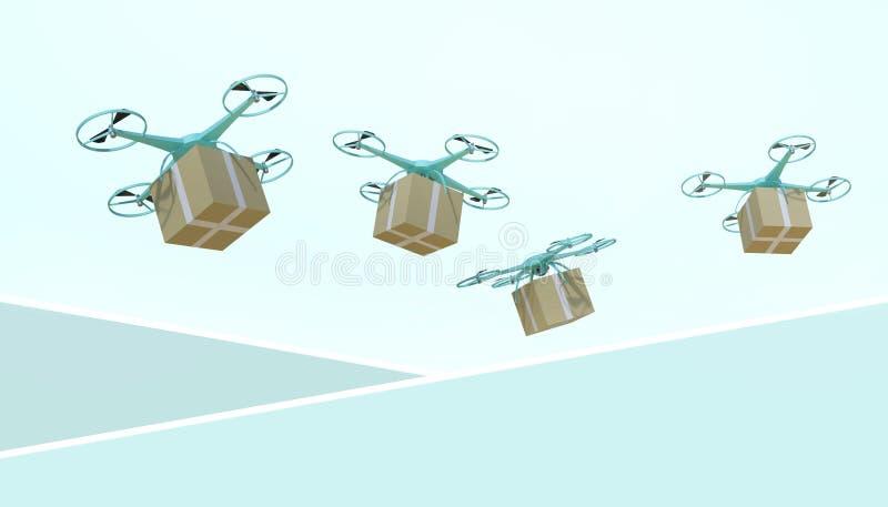 Brummen quadcopter Pakete und transportiert in das on-line-Einkaufen der High-Techen Logistik auf grünem Pastellhintergrund stock abbildung