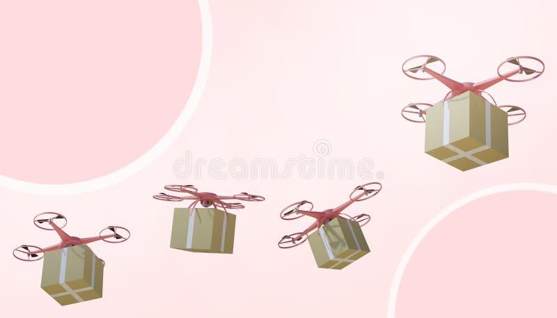 Brummen quadcopter Pakete und transportiert in das on-line-Einkaufen der High-Techen Logistik auf rosa Pastellhintergrund vektor abbildung
