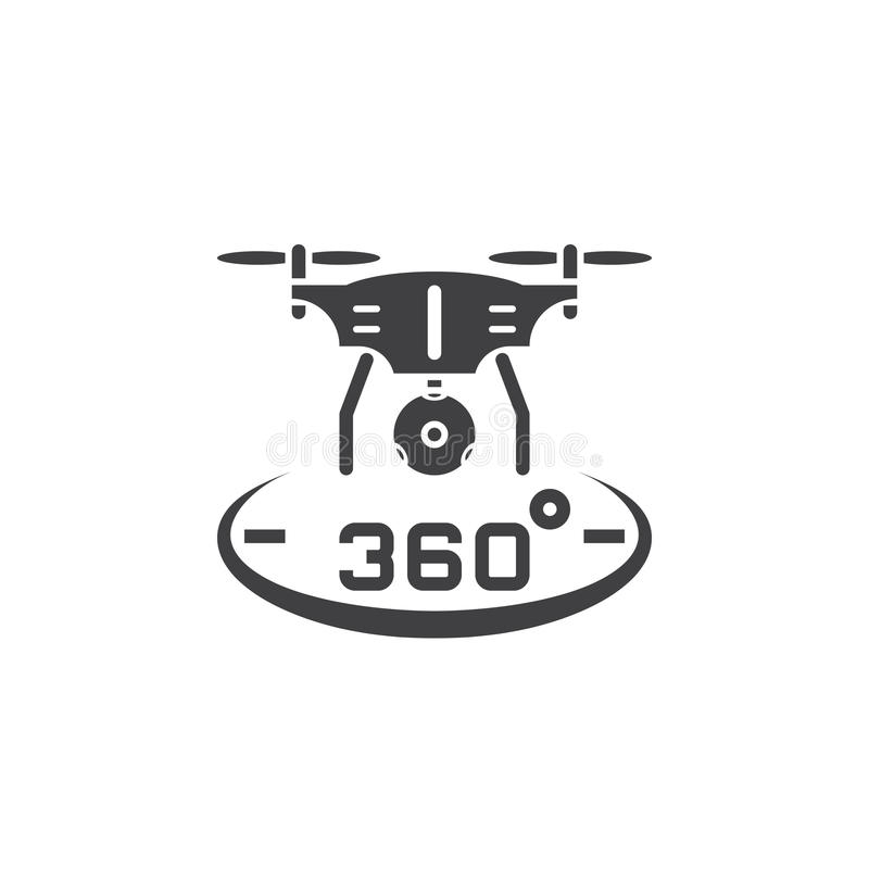 Brummen quadrocopter mit 360-Grad-Panoramakameraikonenvektor, vektor abbildung