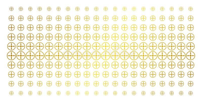 Brummen-Schrauben-goldener Halbtoneffekt lizenzfreie abbildung