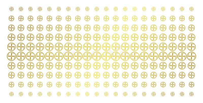 Brummen-Schrauben-Rotations-Goldhalbton-Gitter stock abbildung