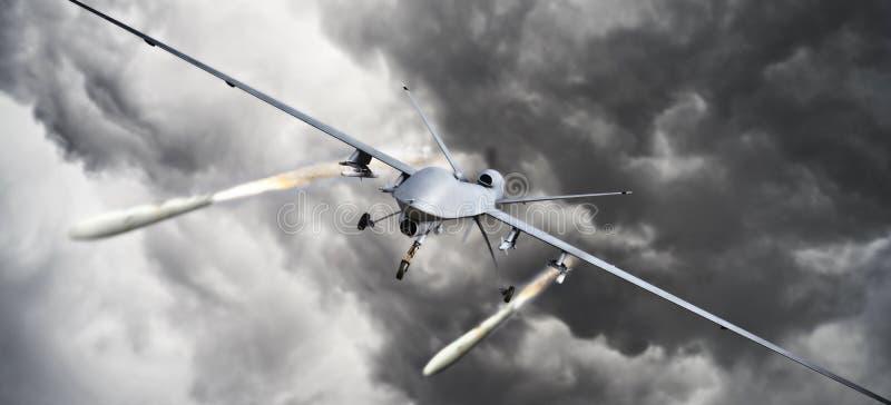 Brummenstreik Vorderansicht einer unbemanntes Luftfahrzeug UAV-Militärbrummen-Zündungsrakete schnellt an einem Ziel hoch stock abbildung