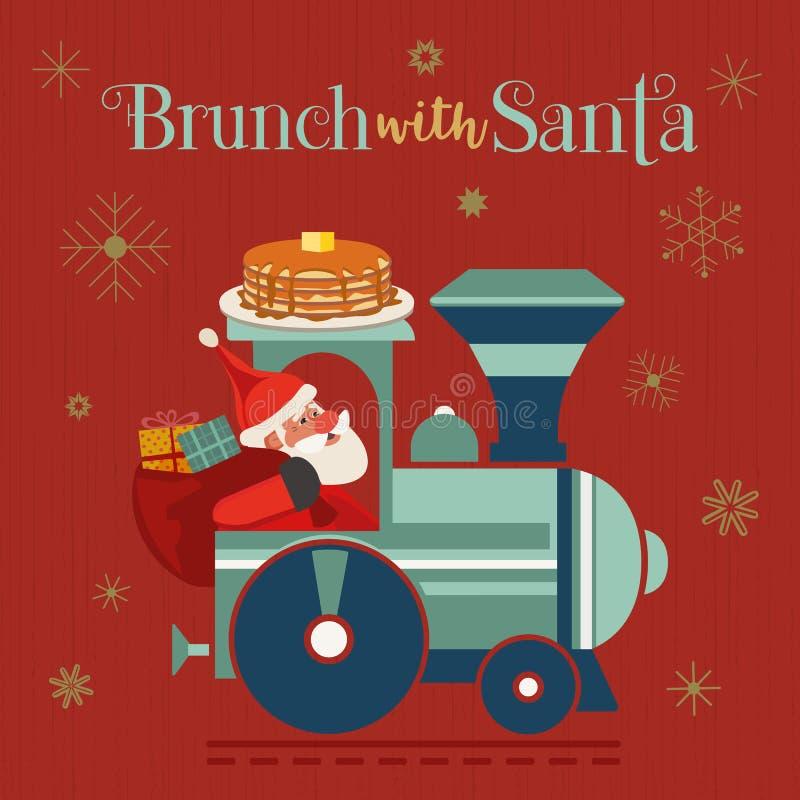 Brunéi con afiche plano vectorial de Santa Fancy Holiday ilustración del vector