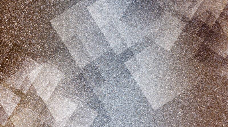 Brun abstrait et modèle rayé et blocs ombragés par fond gris dans les lignes diagonales avec la texture brune de cru et grise ble illustration stock