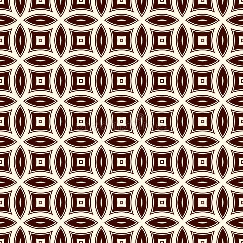Brun abstrakt bakgrund med överlappande cirklar Kronbladmotiv Sömlös modell med den klassiska geometriska prydnaden royaltyfri illustrationer