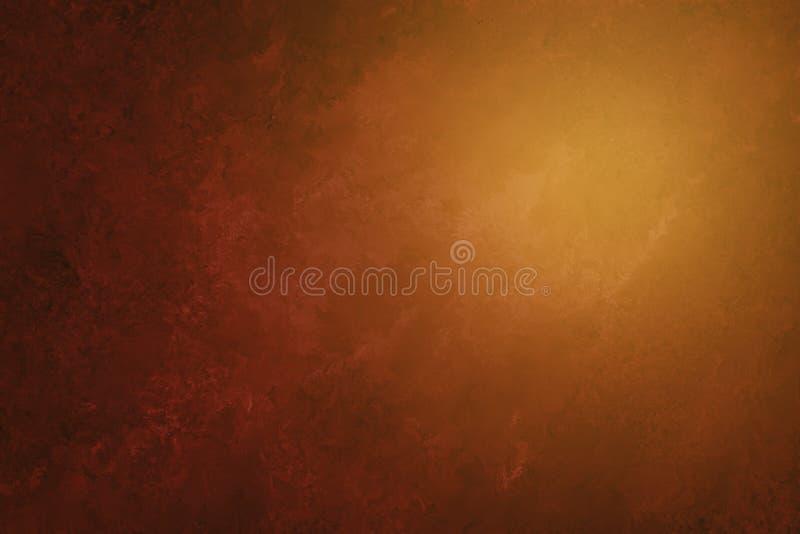 Brun apelsin för lyx och svartbakgrund med målad abstrakt marmortextur i elegant design, mjukt solljus eller solsken f vektor illustrationer