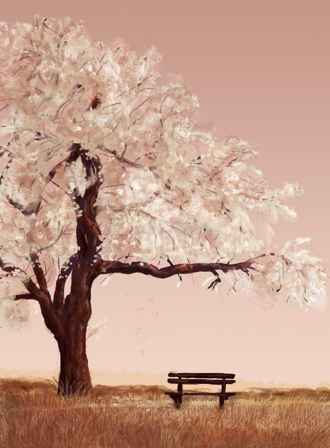 Brun bänk i ett fält under ett blomstra körsbärsrött träd på en rosa bakgrund royaltyfri illustrationer