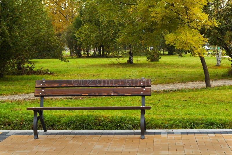 Brun bänk i parkera royaltyfri bild