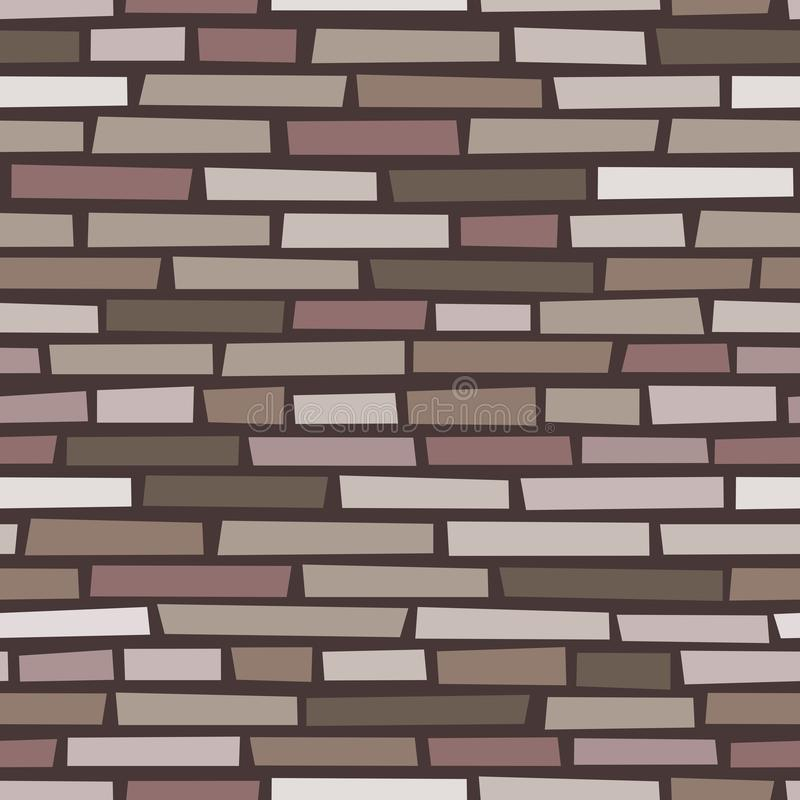 Brun bakgrund för vektor för stentegelstenvägg sömlös stock illustrationer