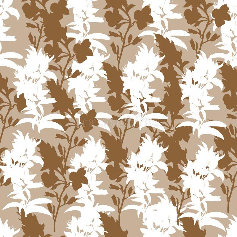 Brun blom- bakgrund av vita blommor F?rsiktig monokrom textur Vektorprydnad för tyger och tegelplattor royaltyfri illustrationer