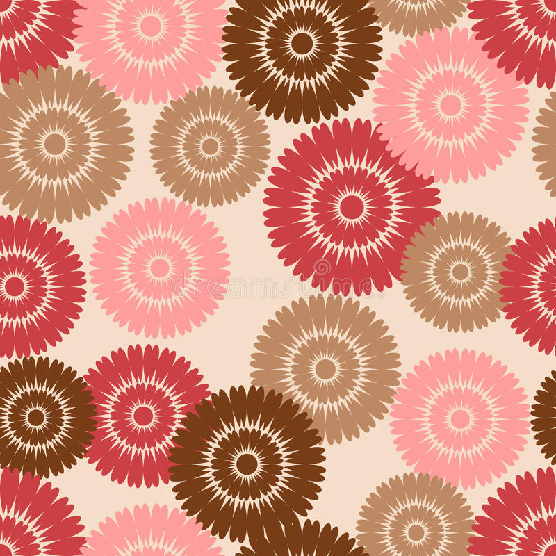 brun blommamodellpink royaltyfri illustrationer