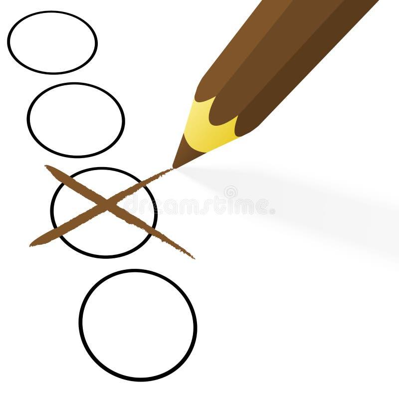 brun blyertspenna med korset stock illustrationer