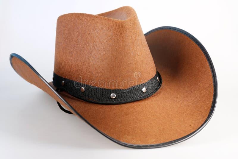 Brun cowboy Hat på vit royaltyfri fotografi