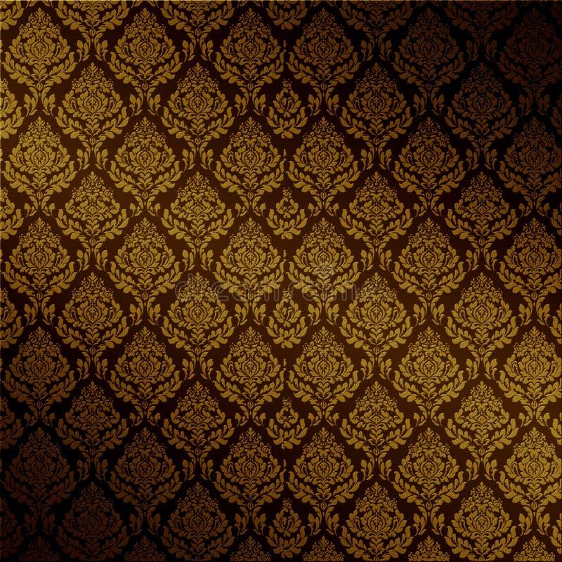 brun damastast seamless vektor royaltyfri illustrationer