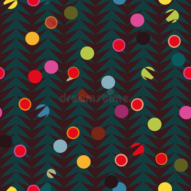 Brun fiskbensmönstermodell med färgglade prickar royaltyfri illustrationer
