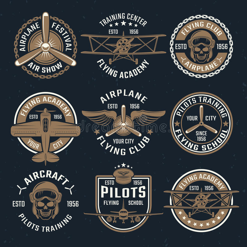 Brun flygplanemblemuppsättning stock illustrationer