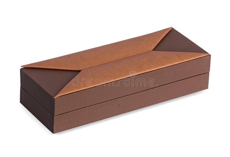 Brun gåvaask för lyx som täckas med läder royaltyfri foto