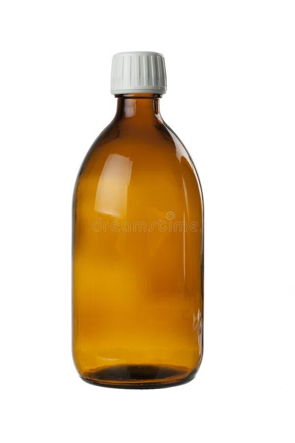 Brun glasflaska för medicinsk sirap arkivfoto