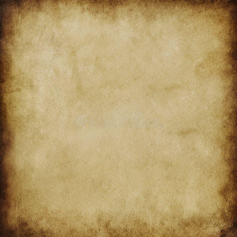 Brun grungebakgrund, gammal pappers- textur, mellanrum, buse, fläckar, strimmor, beiga, papper, strimmor, tappning, retro som är  royaltyfri illustrationer
