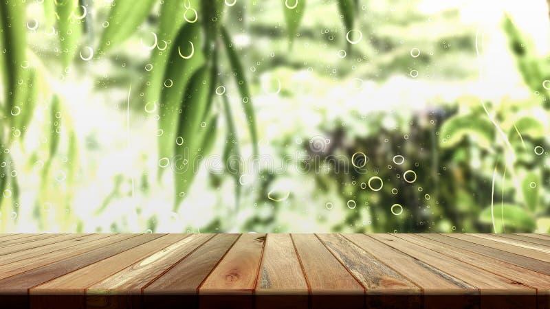 Brun grungeträtabell med gröna sidor för placering eller att redigera för produkt dina produkten eller designbeståndsdelar Tomt t royaltyfria bilder