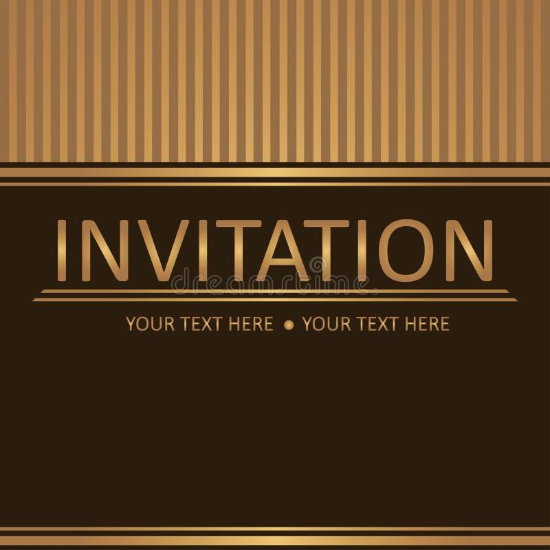 Brun guld- bakgrund för konst, inbjudankort vektor illustrationer