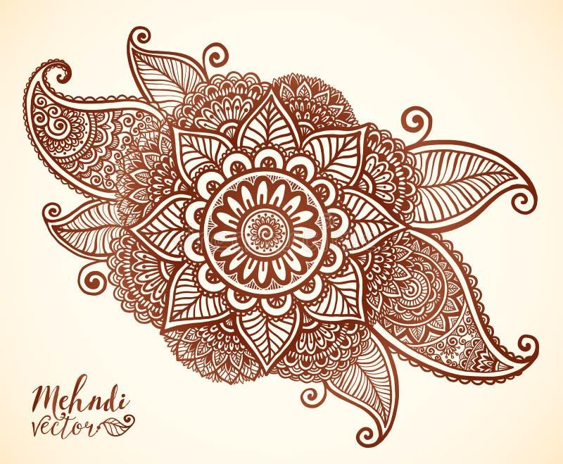 Brun henna färgar den blom- beståndsdelen för vektorn i indisk mehndistil vektor illustrationer