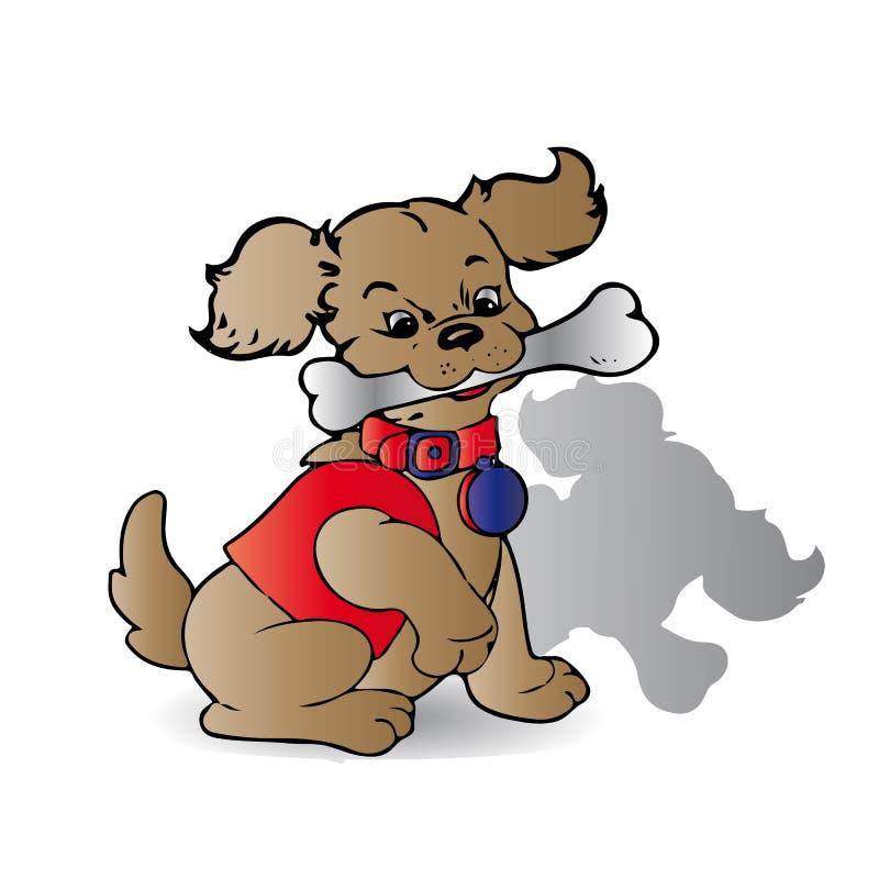 Brun hund med ett ben i hans tänder, med en krage i en röd dräkt, stock illustrationer