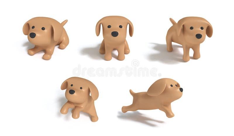 Brun hundkapplöpning fem åtgärdar vit bakgrund 3d för den stora bilden för att framföra vektor illustrationer