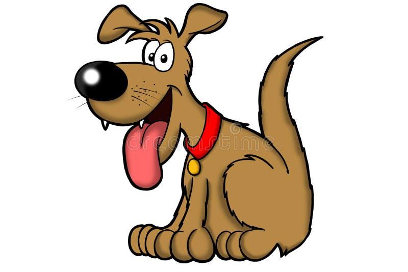 brun lycklig tecknad filmhund stock illustrationer